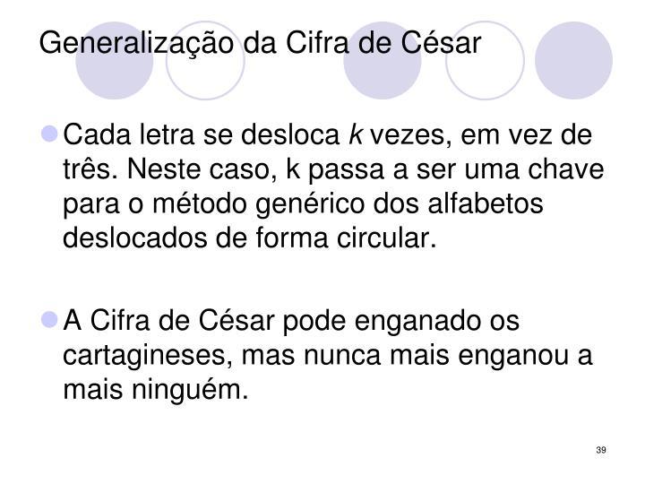 Generalização da Cifra de César