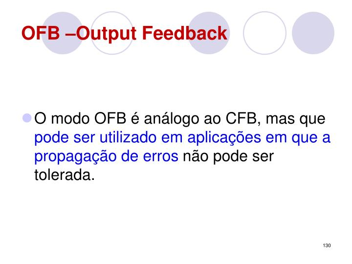 OFB –Output Feedback