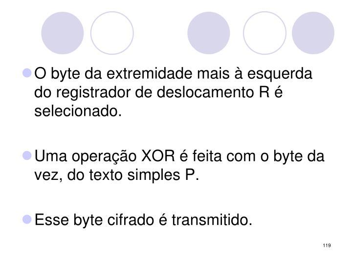 O byte da extremidade mais à esquerda do registrador de deslocamento R é selecionado.
