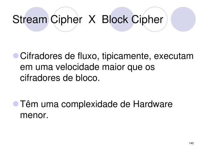 Stream Cipher  X  Block Cipher