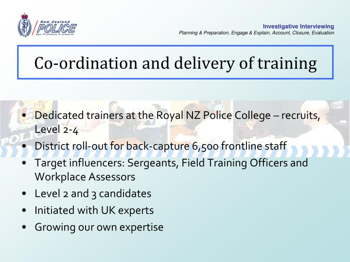 Co-ordination and delivery of training