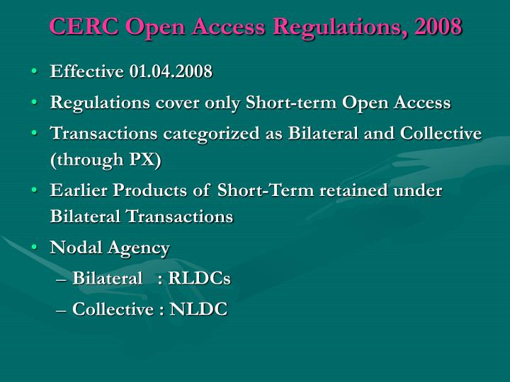 CERC Open Access Regulations, 2008