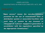 open access definition as per electricity act 2003