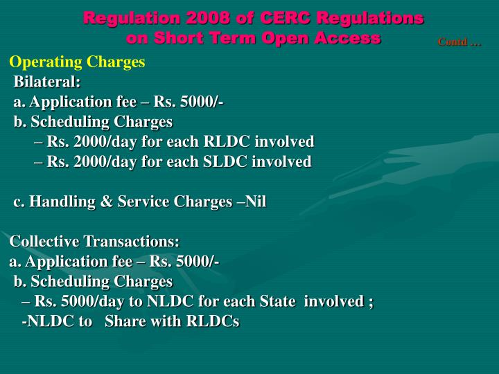 Regulation 2008 of CERC Regulations