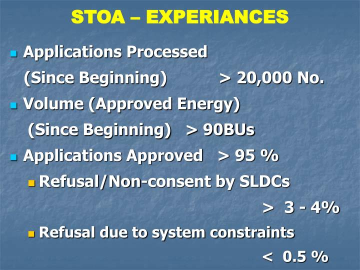 STOA – EXPERIANCES