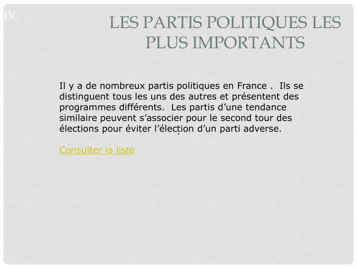 Les partis politiques les        plus importants