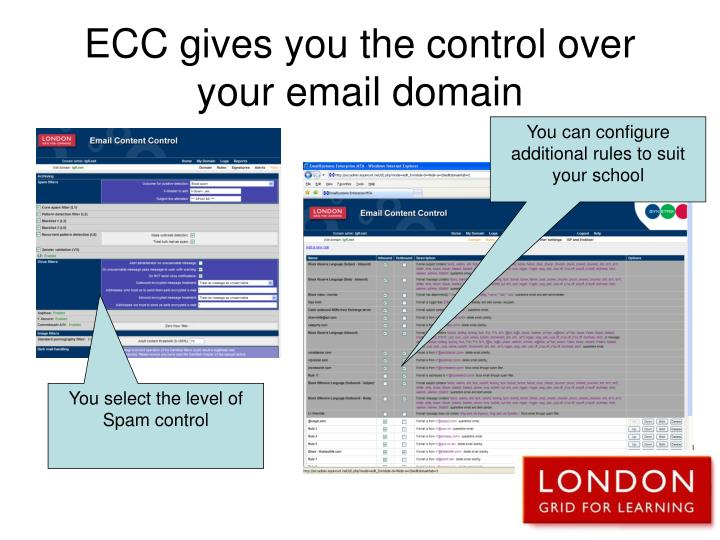 ECC gives you the control over your email domain