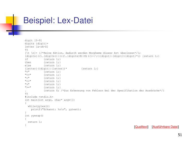 Beispiel: Lex-Datei