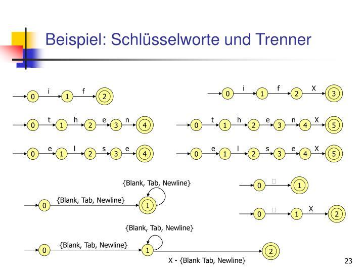 Beispiel: Schlüsselworte und Trenner