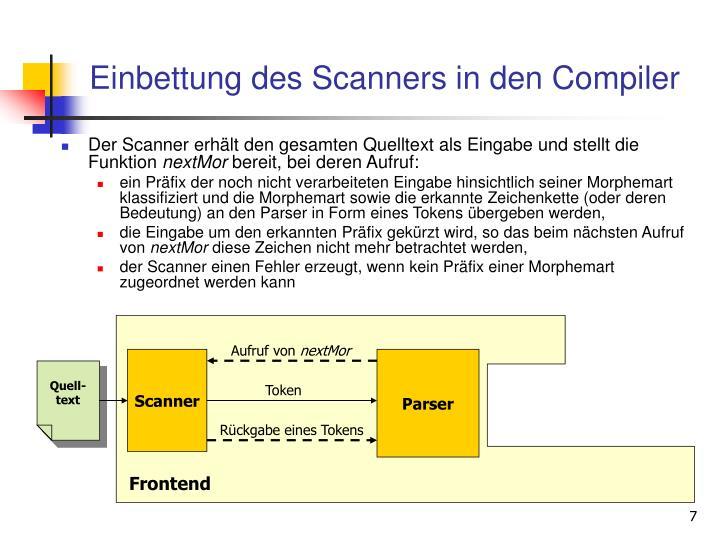 Einbettung des Scanners in den Compiler