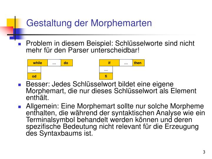 Gestaltung der Morphemarten