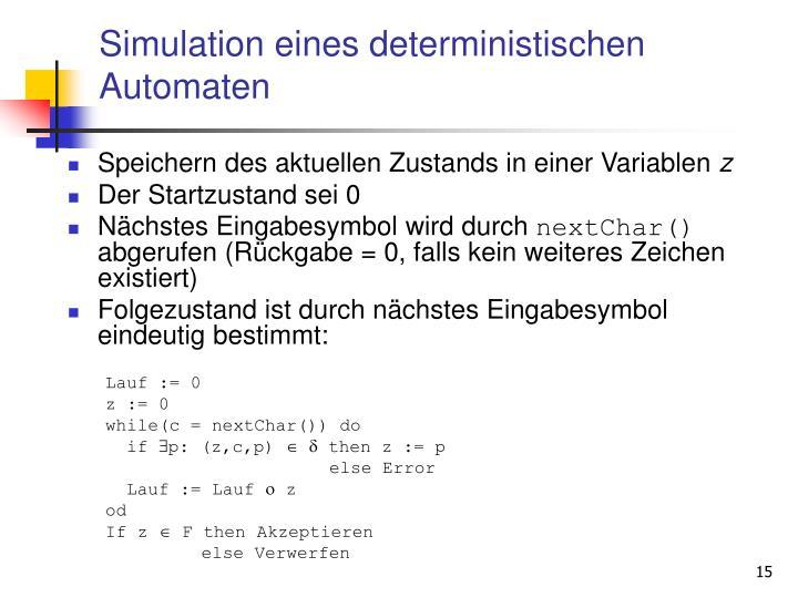 Simulation eines deterministischen Automaten