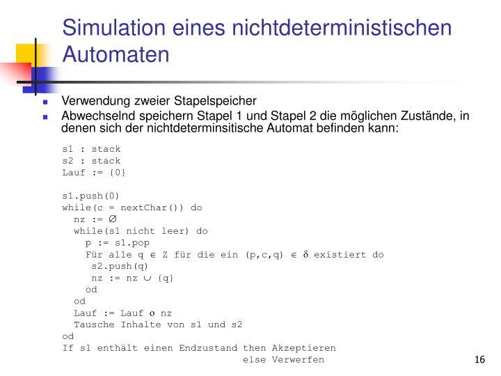 Simulation eines nichtdeterministischen Automaten