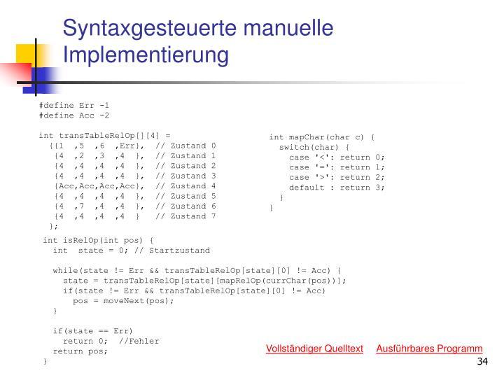 Syntaxgesteuerte manuelle Implementierung