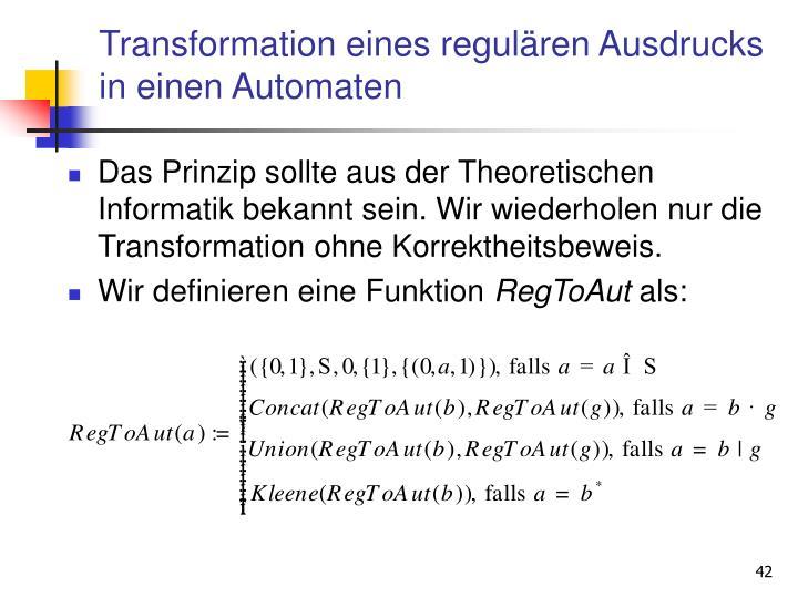 Transformation eines regulären Ausdrucks in einen Automaten