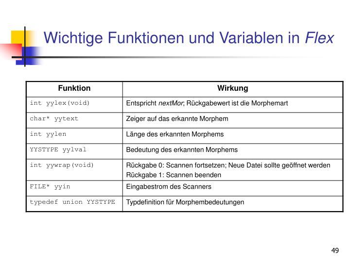 Wichtige Funktionen und Variablen in