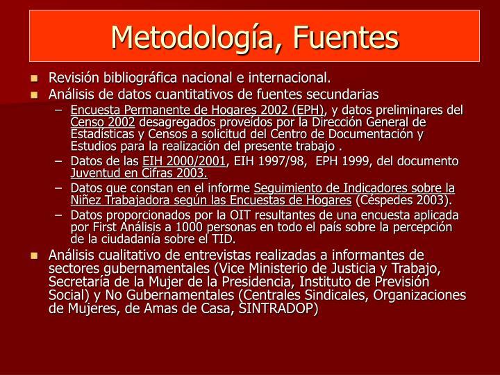 Metodología, Fuentes