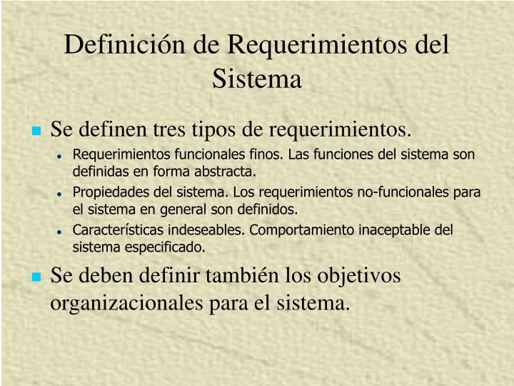 Definición de Requerimientos del Sistema