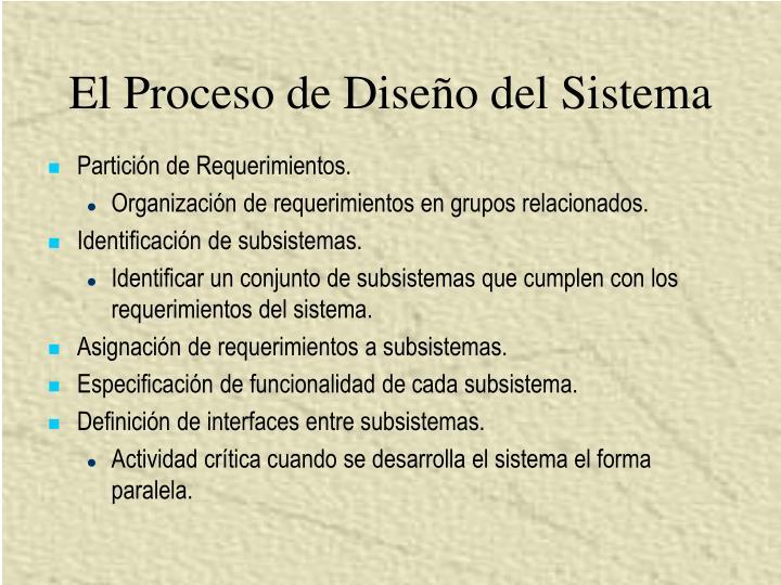 El Proceso de Diseño del Sistema