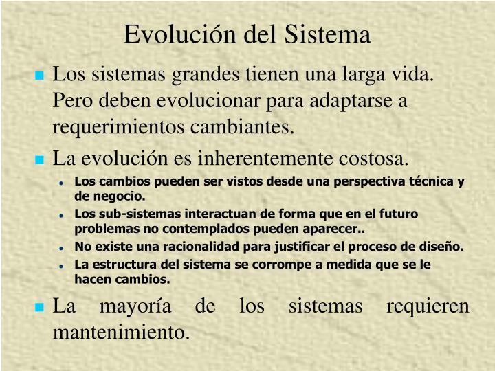 Evolución del Sistema