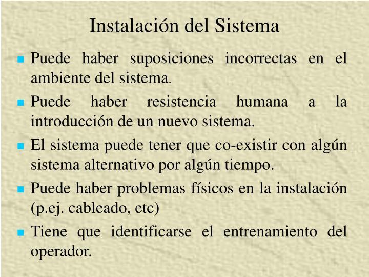 Instalación del Sistema