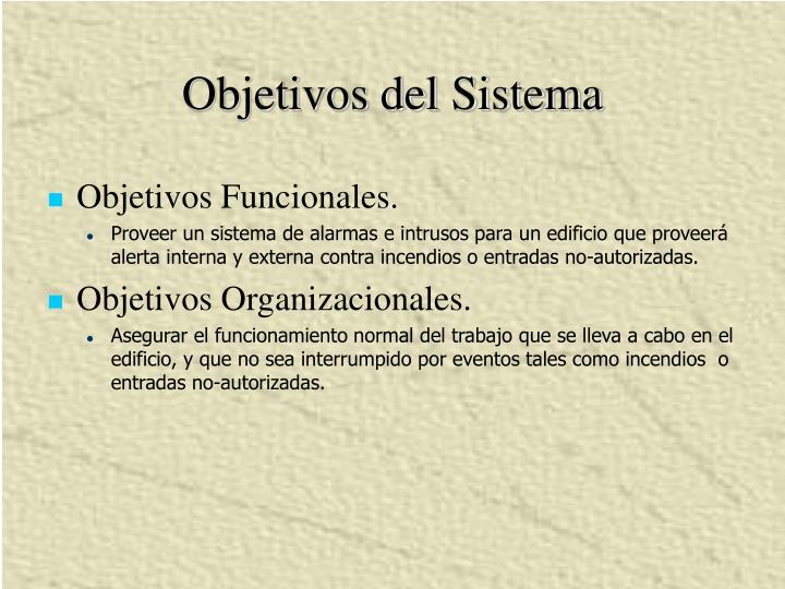 Objetivos del Sistema