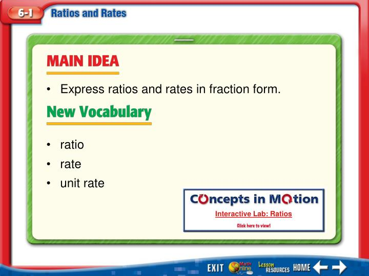 Express ratios and rates in fraction form.