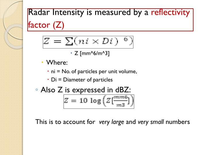 Radar Intensity is measured by a