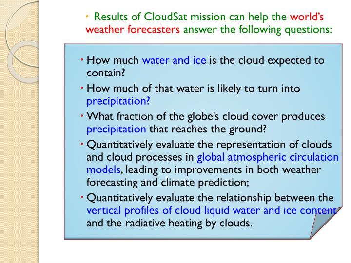 Results of CloudSat mission can help the