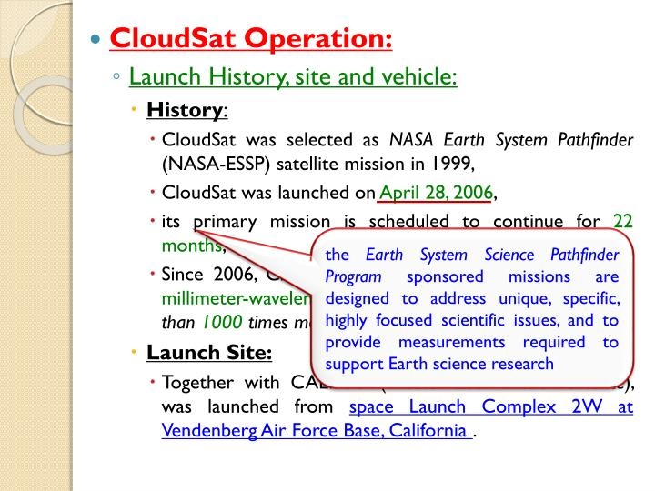 CloudSat Operation: