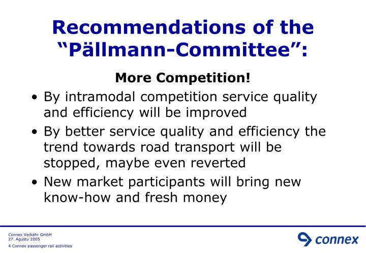 "Recommendations of the ""Pällmann-Committee"":"