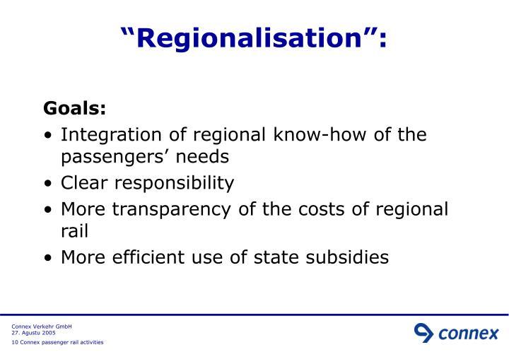 """Regionalisation"":"