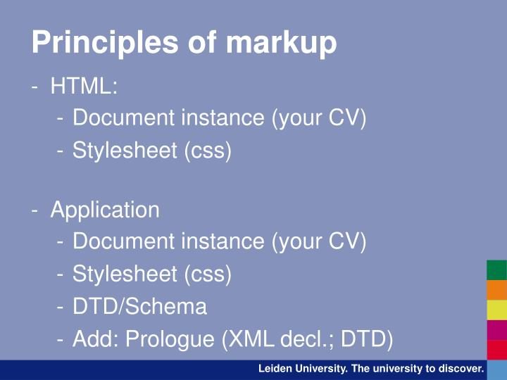 Principles of markup
