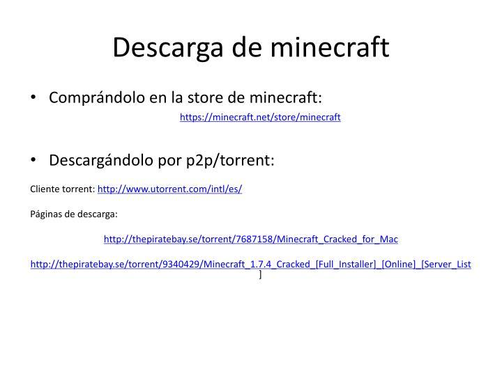 Descarga de minecraft