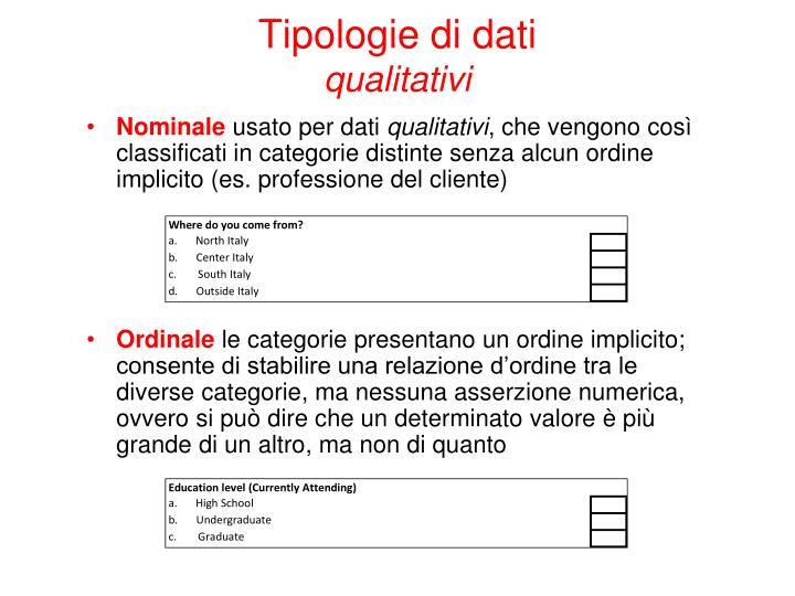 Tipologie di dati