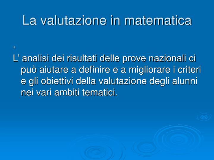 La valutazione in matematica