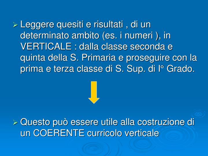 Leggere quesiti e risultati , di un determinato ambito (es. i numeri ), in VERTICALE : dalla classe seconda e quinta della S. Primaria e proseguire con la prima e terza classe di S. Sup. di I° Grado.