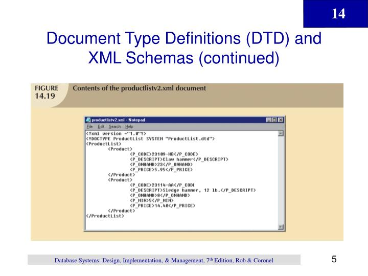 Document Type Definitions (DTD) and XML Schemas (continued)