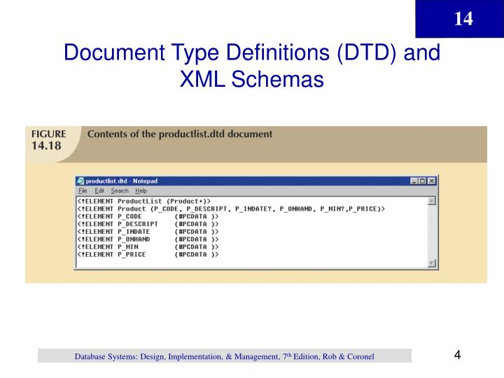 Document Type Definitions (DTD) and XML Schemas