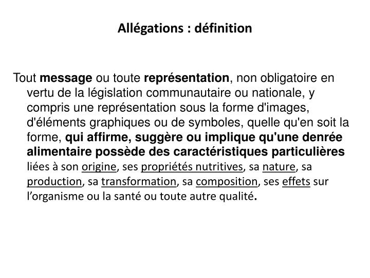 Allégations : définition