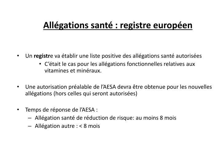 Allégations santé : registre européen