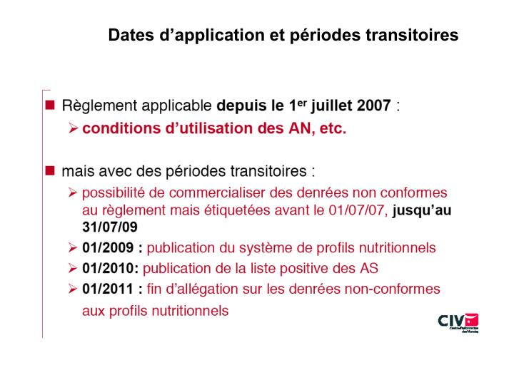 Dates d'application et périodes transitoires