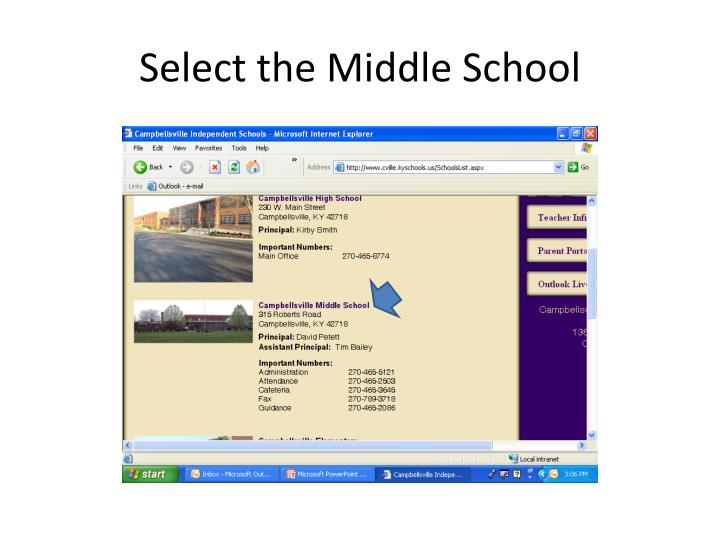 Select the Middle School