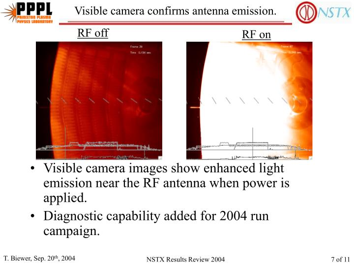 Visible camera confirms antenna emission.