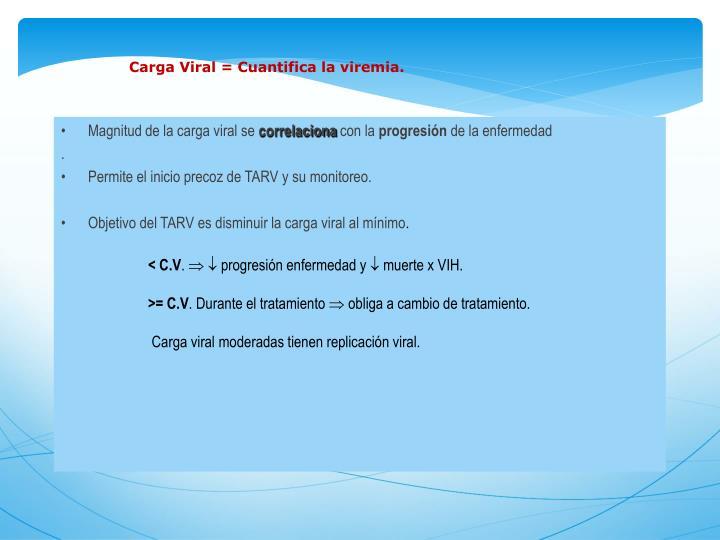 Carga Viral = Cuantifica la viremia.