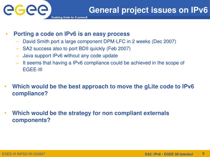 General project issues on IPv6