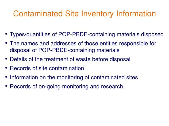 Contaminated Site Inventory Information