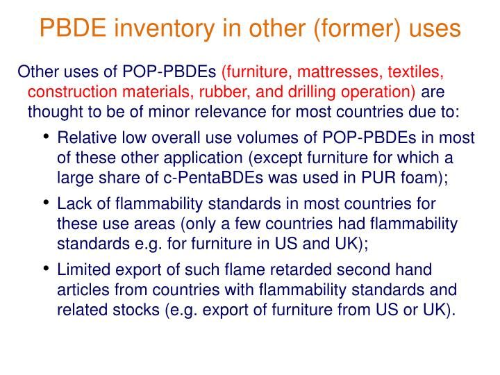 PBDE inventory in other (former) uses