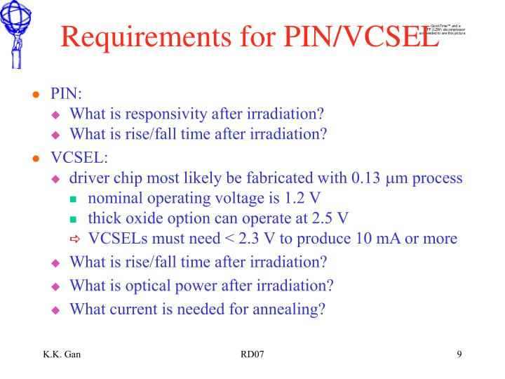 Requirements for PIN/VCSEL