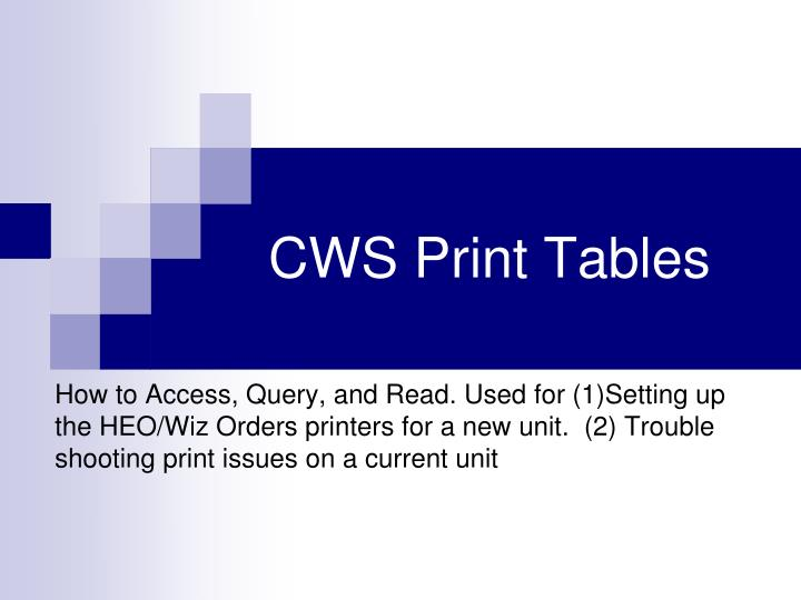 Cws print tables
